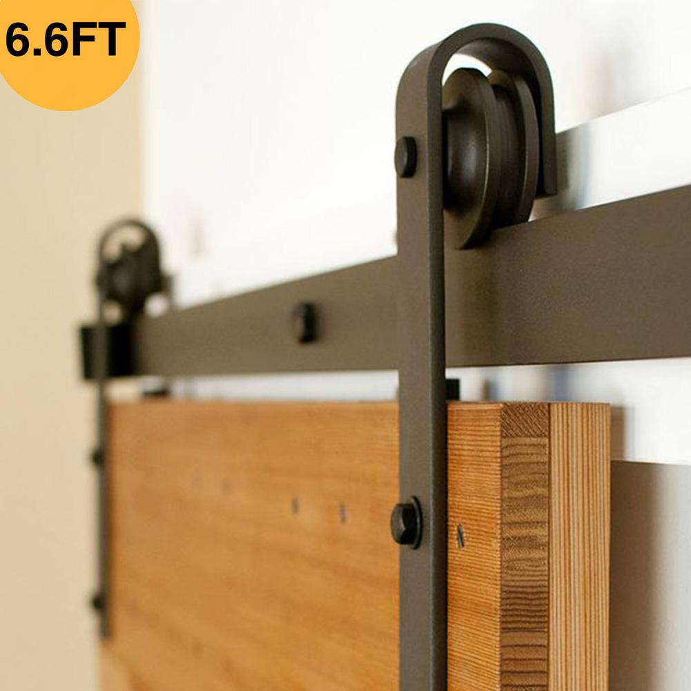 Details About Sliding Barn Door Hardware Double Doors Track Hangers Kit Clic Black J Shape