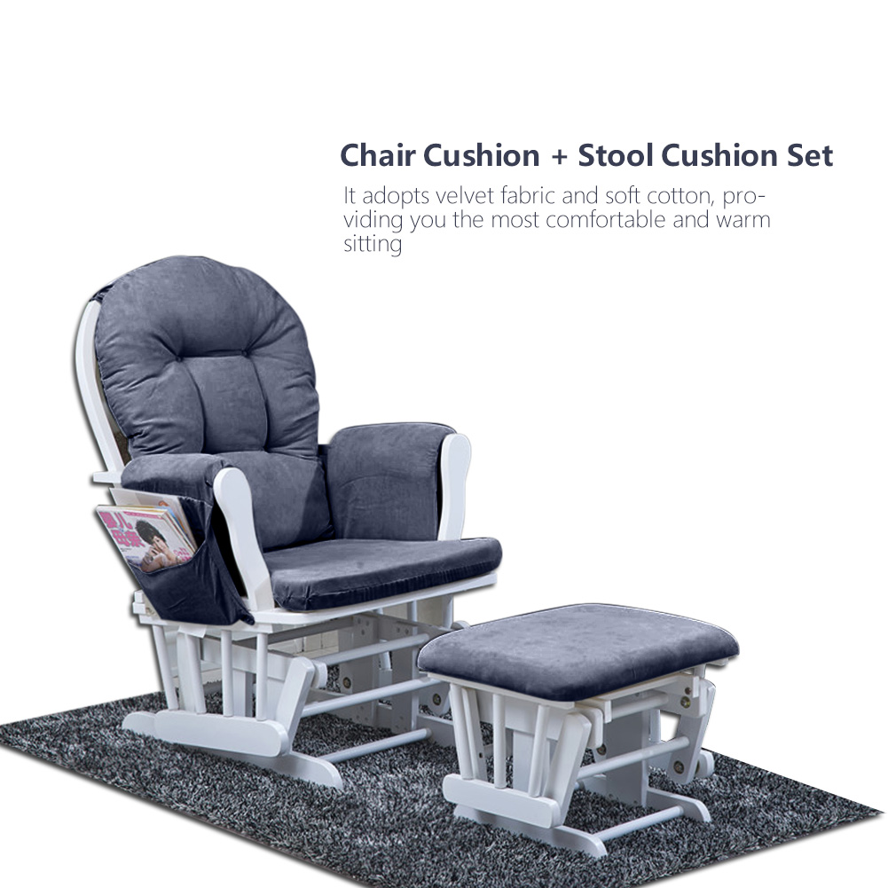 Details About Grey Velvet Cotton Rocking Chair Cushion Stool Pad Set For Home Office