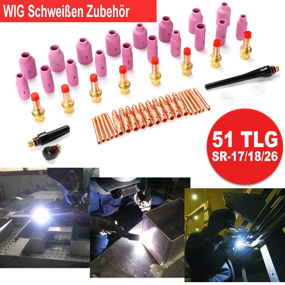 51tlg WIG Brenner Verschleißteile Set Schweißzubehör Gasdüsen für WP//SR-17//18//26