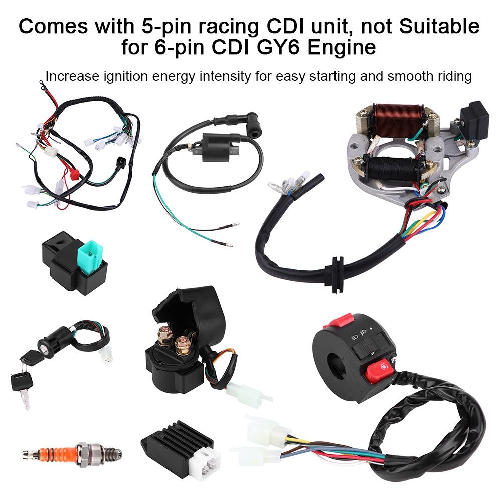 HMParts ATV Pit Bike Dirt Bike Kabelbaum 50-150 ccm  mit Licht Elektrostarter