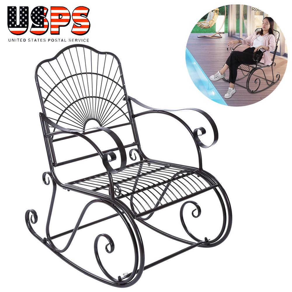 Prime Details About Solid Rocking Chair Porch Rocker Indoor Outdoor Deck Patio Backyard Iron Black Ibusinesslaw Wood Chair Design Ideas Ibusinesslaworg