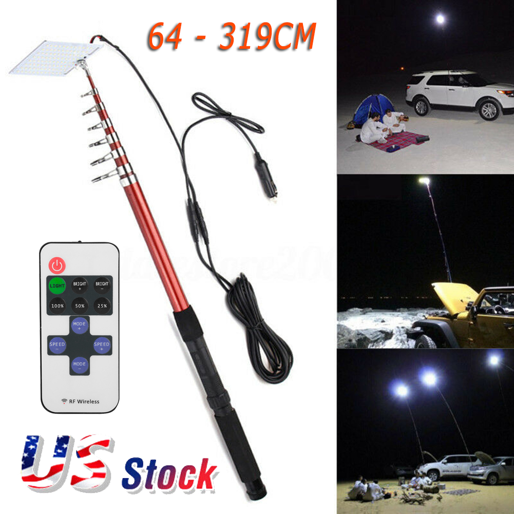 Car Outdoor Telescopic Fishing Rod Lamp IR Remote IP54 for Camping Travelling