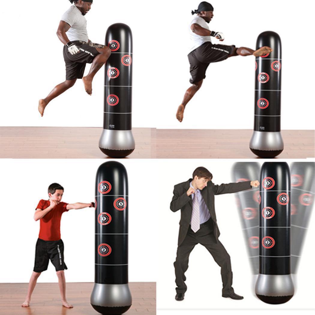 Inflatable Kick Training Boxing Punching Bag Sandbag Adult Kids W.Air Inflator
