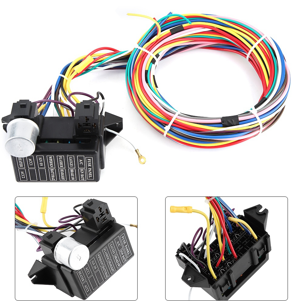 Universal 12v Car Complete Circuit Wiring Harness Hot Rods Wire Install Wire Kit