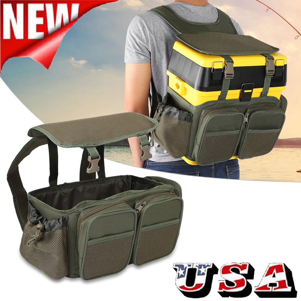 Fishing Tackle Box Bag Nylon Backpack Camping Stool Seat Case Carrier Box Bag