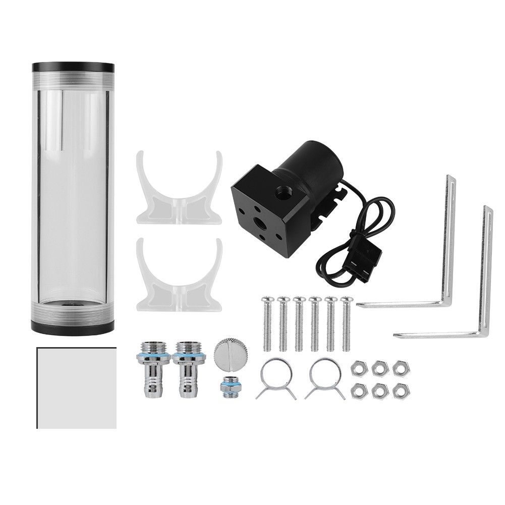 300mm Water Tank DIY Kit fr PC Water Cooling System with 19W Pump G1//4 Reservoir