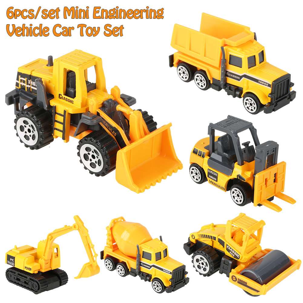 6Pcs Engineering Construction Truck Lorry Roller Vehicle Car Toys Kids Boy Gifts