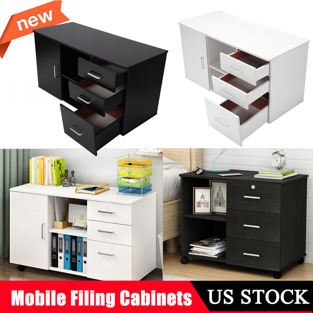 Details About Wood Drawer Filing Cabinet Mobile File Cabinets W 3 Drawers 1 Door Office Home