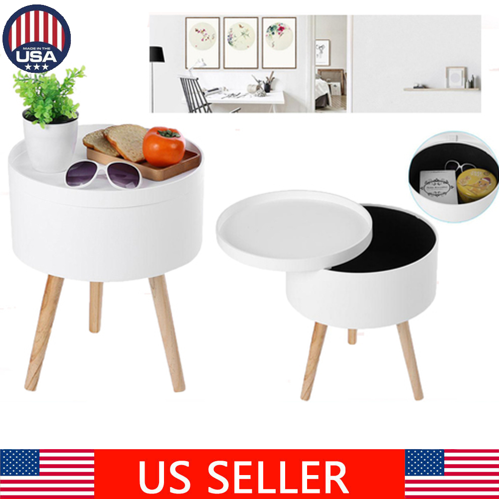 Modern Wood Round Coffee End Side Storage Table With Tabletop Tray