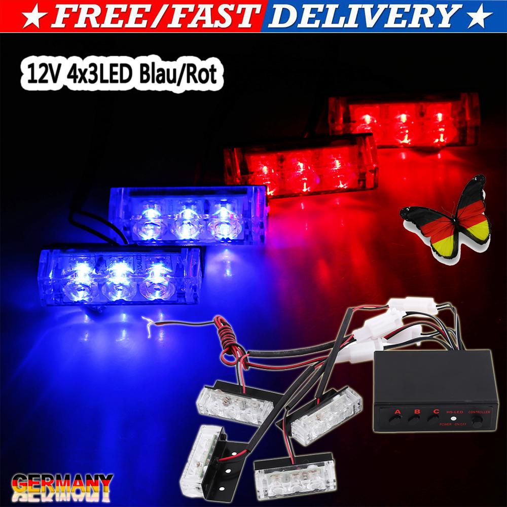 8 LED Auto Dash Strobe Blitzlicht Notfall Polizei Warnung 3 Modus Blau Rot LKW
