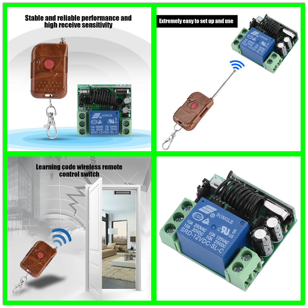 12V 1CH Channel 433MHz Wireless Remote Control Relay Switch Transmitter Receiver