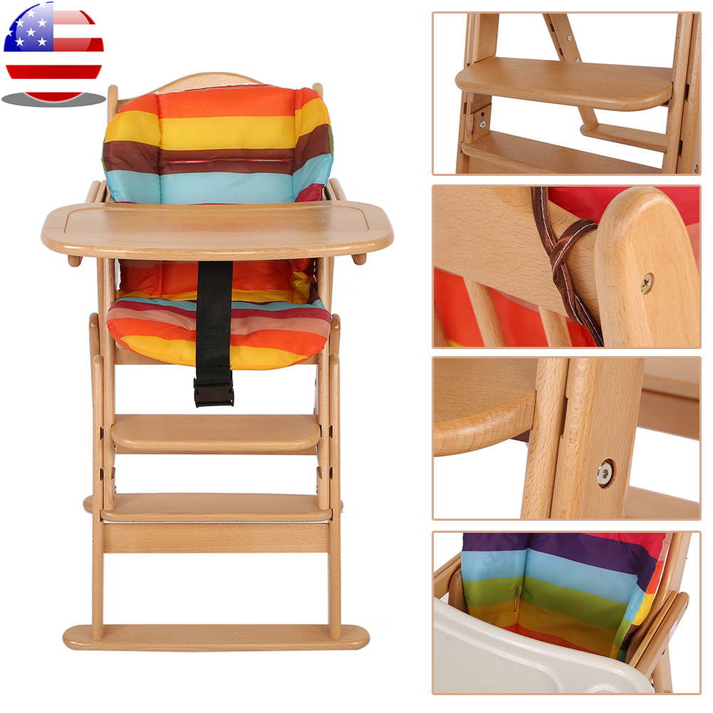 Foldable Wooden High Chair Baby Highchairs With Tray For Baby