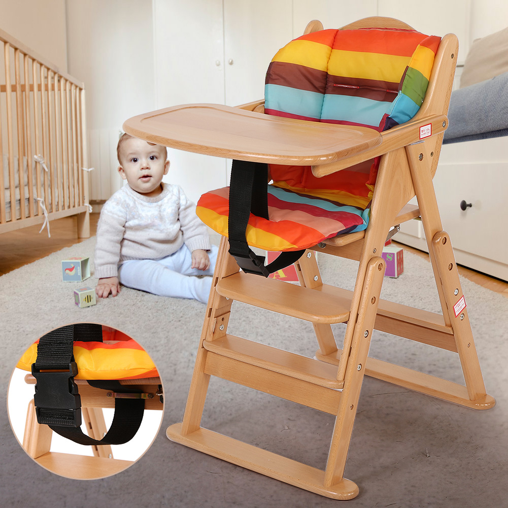 Foldable Wooden High Chair Baby Highchairs with Tray for ...