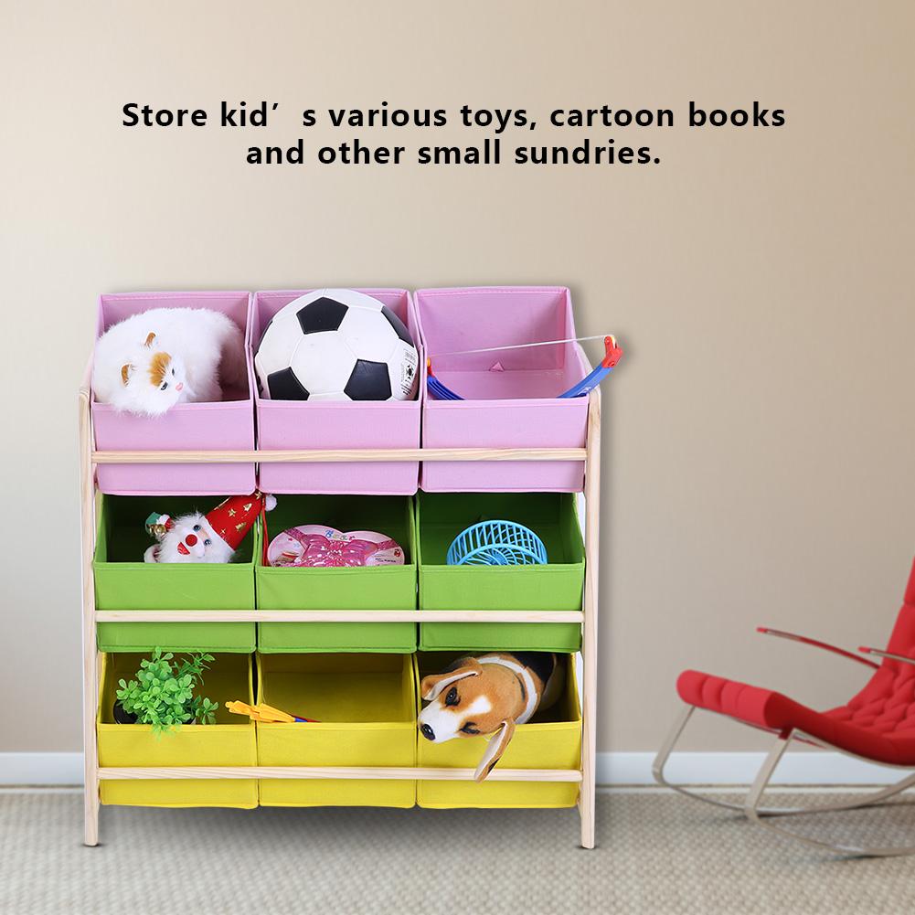 Toy Storage Organizer 9 Non-woven Fabrics Bins Toy Box 3 Tier Playroom Rack