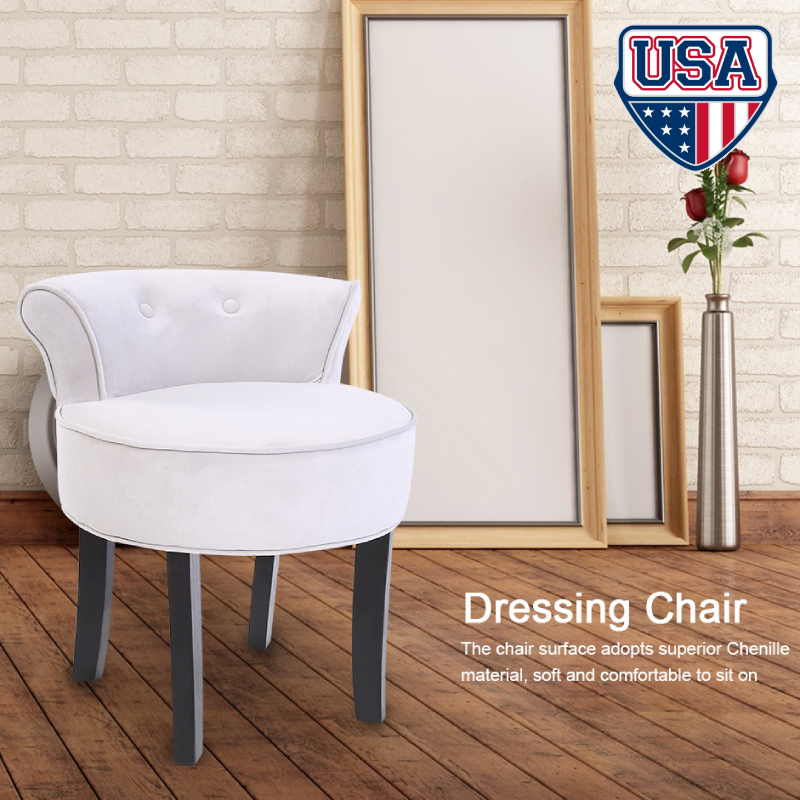 Superbe Details About New Elegant Vanity Wood Dressing Stool Padded Chair Makeup  Seat Bedroom Gray