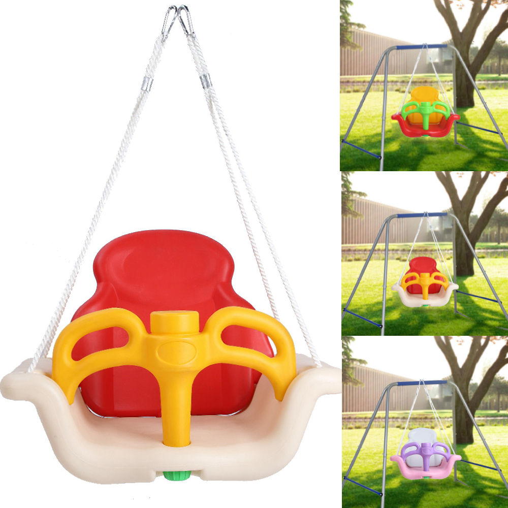 3-in-1 Infant to Toddler Swing Set Secure Detachable Outdoor Play Patio Garden