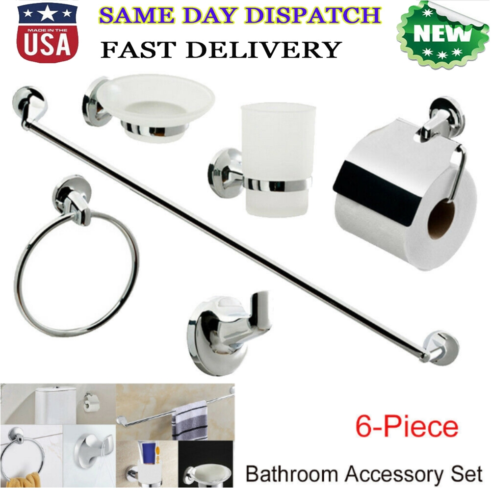 6pcs Wall Mount Bathroom Toilet Accessory Set Towel Rack Toothbrush Paper Holder