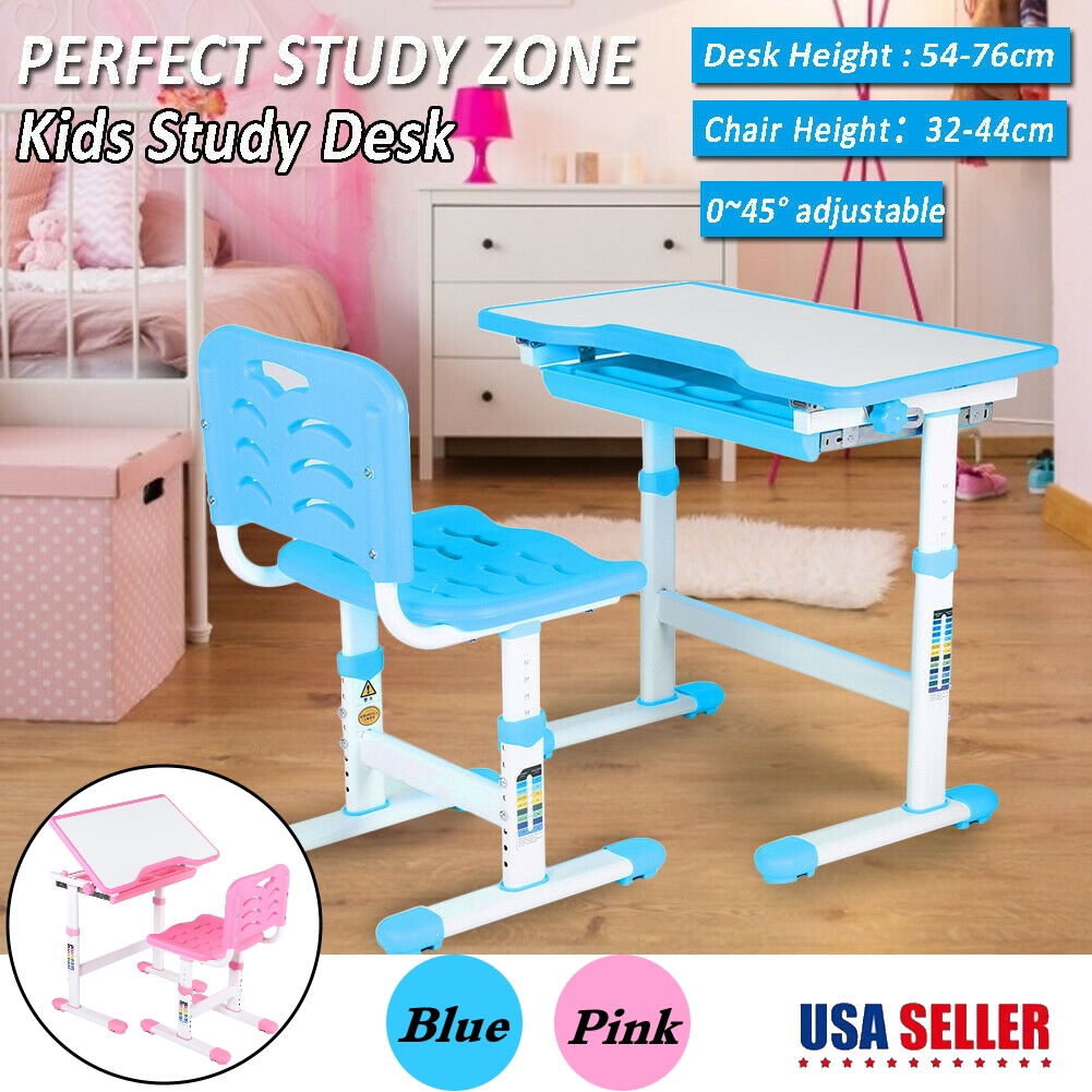 Awesome Details About Mdf Adjustable Height Angle Childrens Study Desk Chair Set Child Kids Table Theyellowbook Wood Chair Design Ideas Theyellowbookinfo