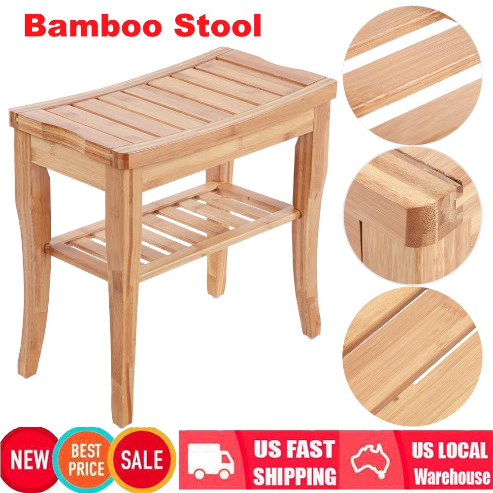 Details About Wooden Shower Stool Wood Bathroom Bench Seat Bamboo Bath Spa Sauna Chair Shelf
