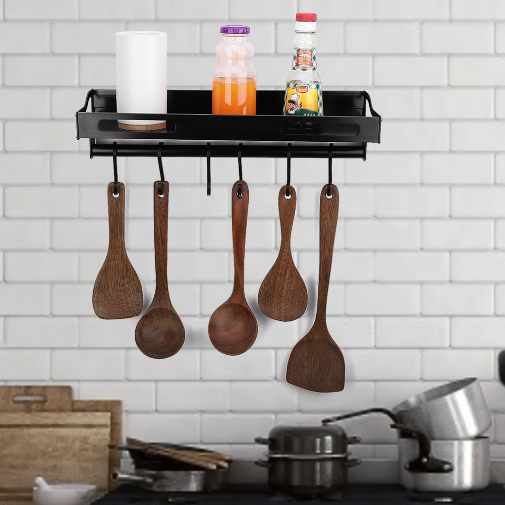 Details about Kitchen Hanging Pot Pan Rack & 6 Hook Storage Shelf Cookware  Holder Wall Mounted