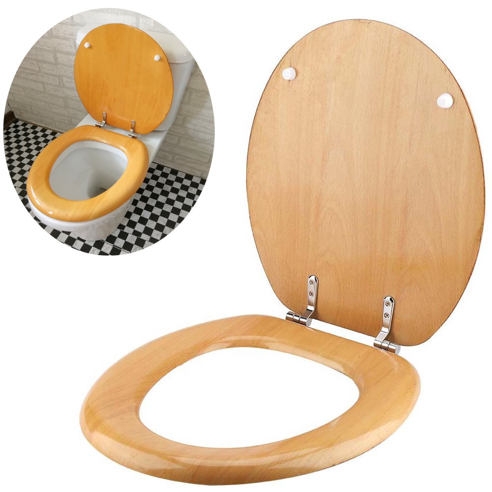 """18/"""" BEECH MDF UNIVERSAL BATHROOM WC TOILET SEAT EASY FIT WOODEN WITH FITTINGS"""