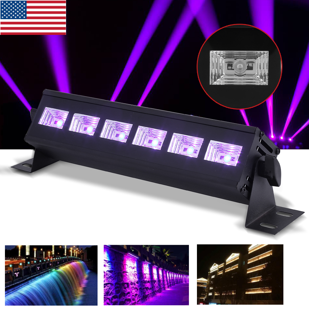 Details About 18w 6 Led Uv Lights Black Stage Lighting Bar Wall Wash Light Dj Party