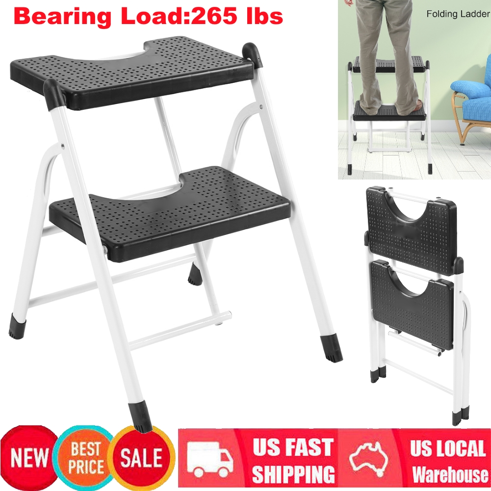 Brilliant Details About Non Slip 2 Step Ladder Folding Steel Step Handy Stool Heavy Duty Max Load 265Lbs Pabps2019 Chair Design Images Pabps2019Com