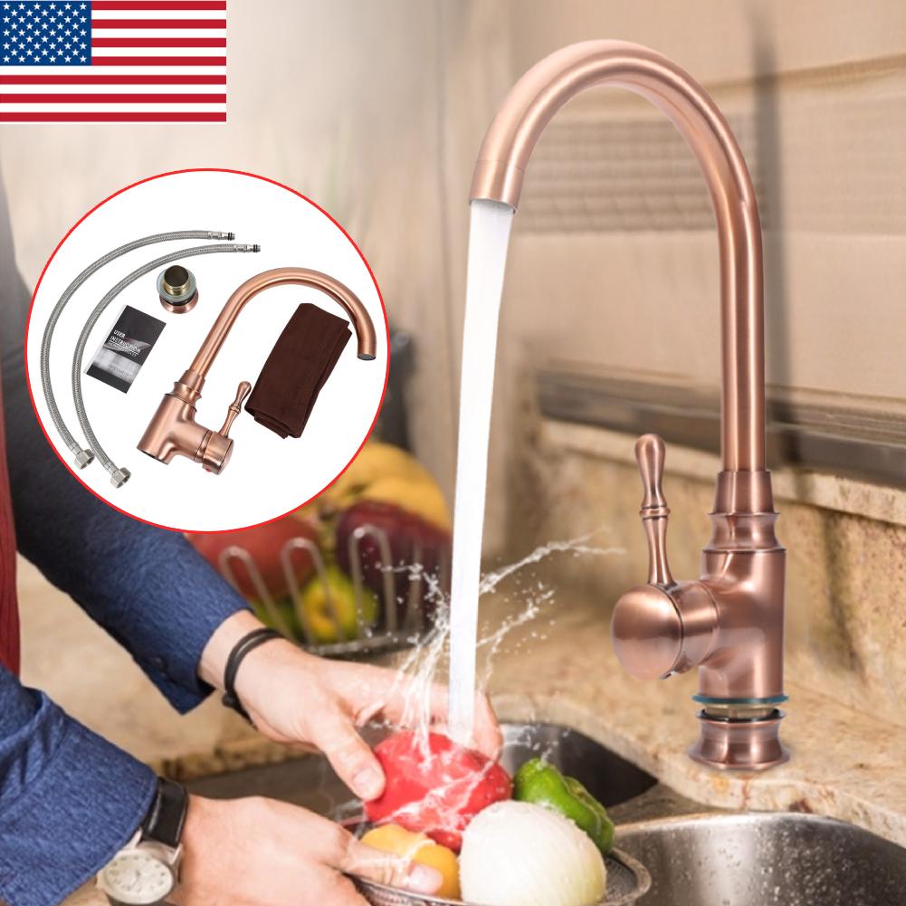 Details about Retro Kitchen Sink Cold & Hot Water Mixer Tap Brass Single  Handle Faucet Set