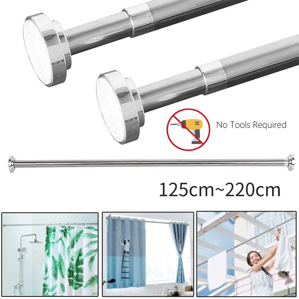 Extendable Telescopic Shower Curtain Pole Rail Bathroom Door Window Wardrobe Rod