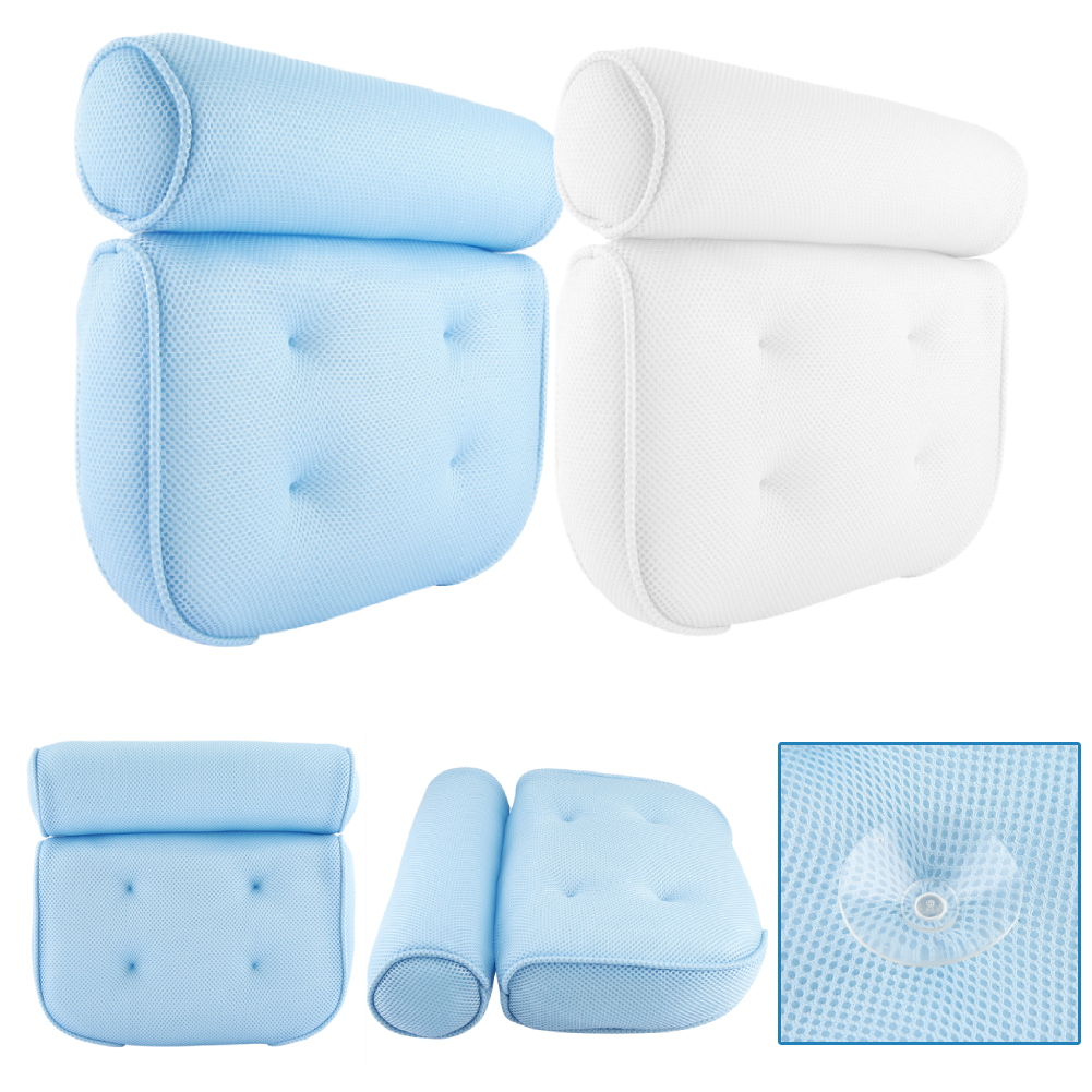 3D Soft Bath Tub Pillow for Comfort Neck /& Back Open Air Fiber Spa Foam Fill