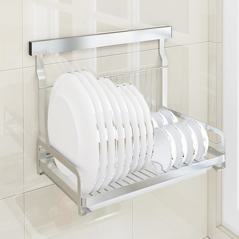 Folding Wall Dish Drainer Drying Rack Tray Kitchen Storage Stainless Steel New