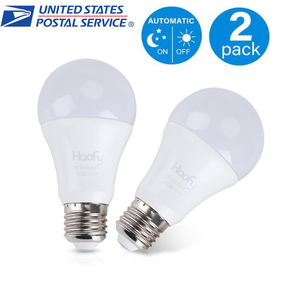Details About 2pcs 7w E26 E27 In Outdoor Smart Sensor Light Bulb Auto On Off Dusk To Dawn Lamp
