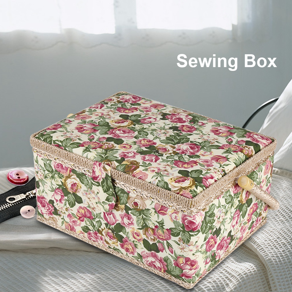 Printed Sewing Storage Basket Box Gift Set Sewing Tool Kit Accessories Case