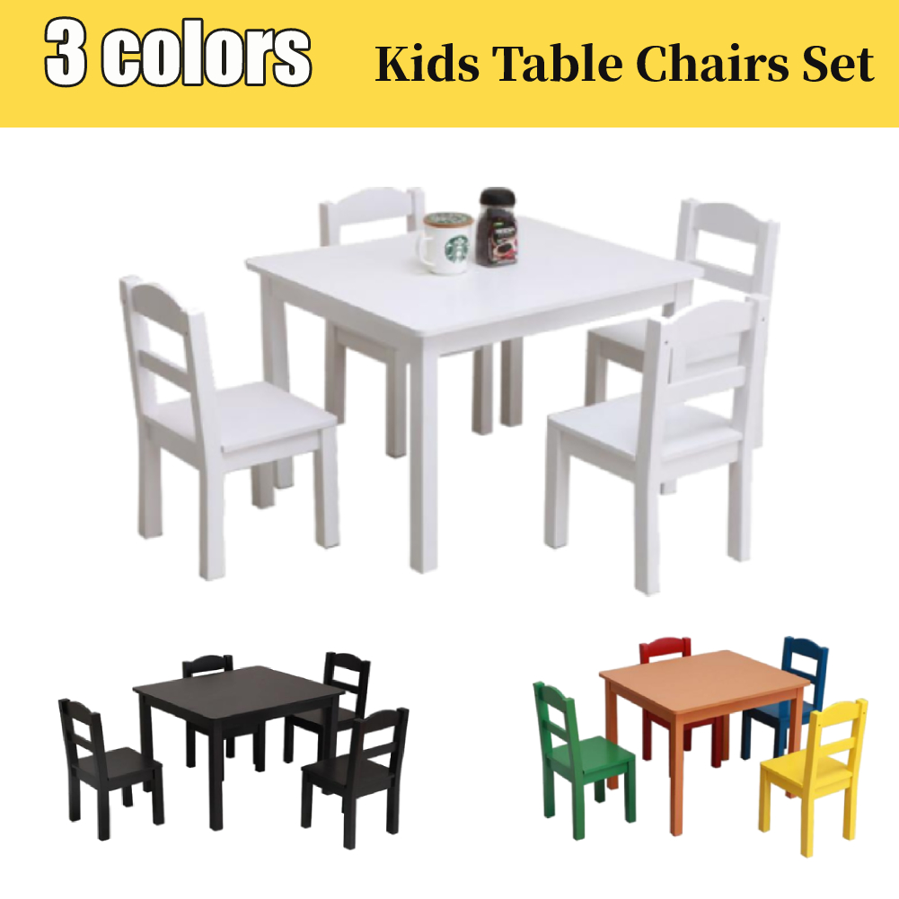 Details about Heavy Duty Kids Table Chairs Set Dining Playroom Gift MDF 3  Colors Furniture