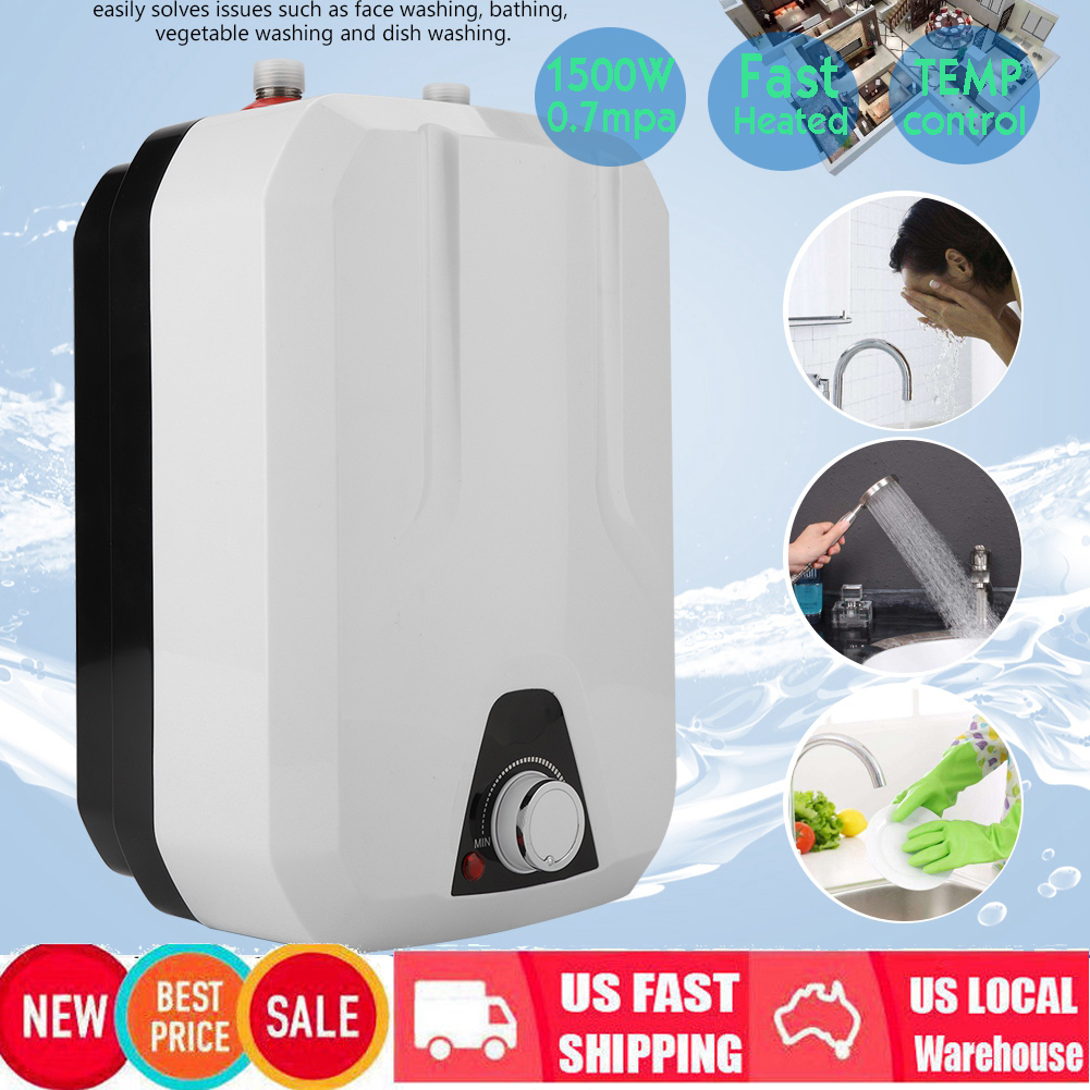1500W 8L Mini Electric Tankless Instant Hot Water Heater Washing Shower Sink US