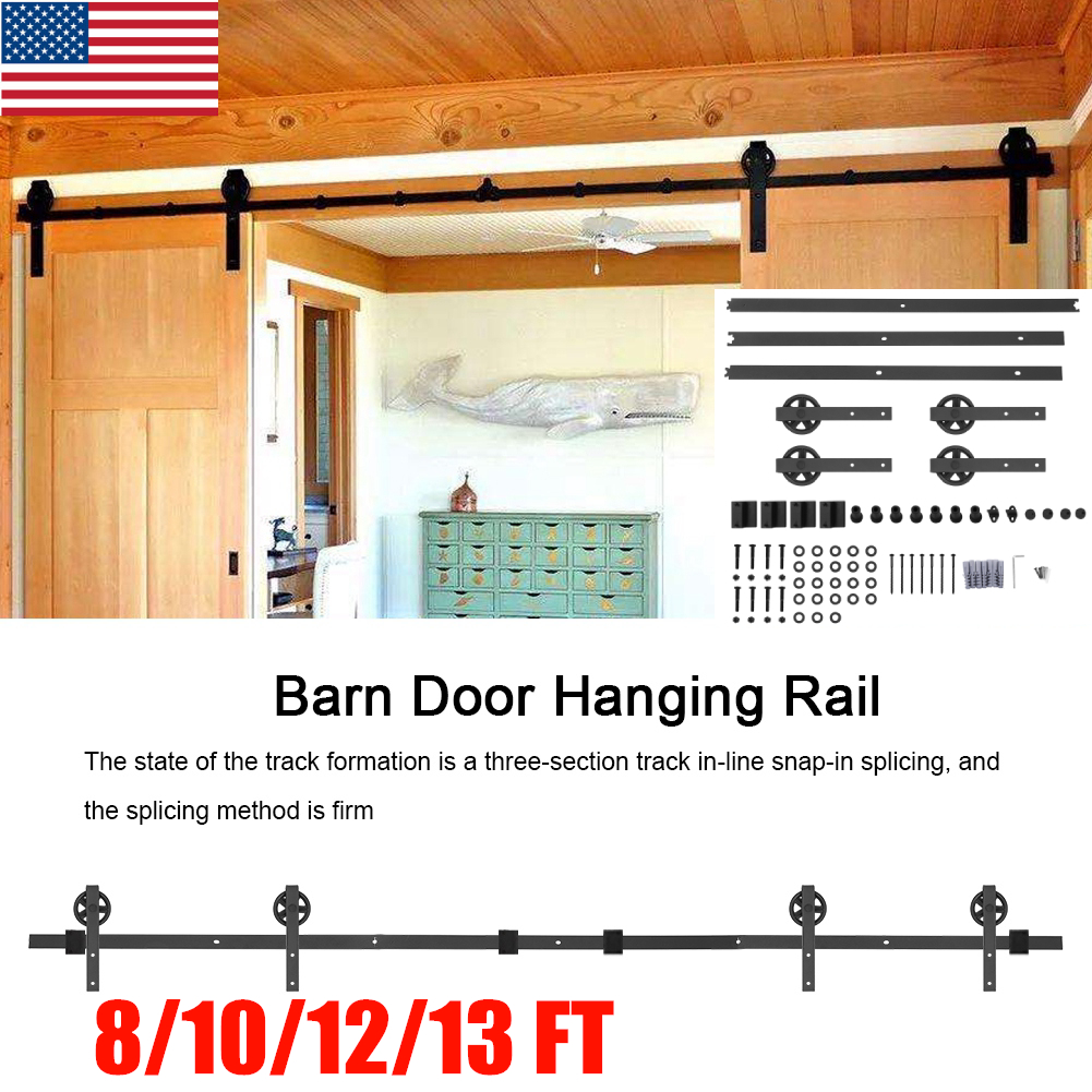 Famus Barn Door Hanging Rail 12FT Sturdy Carbon Steel Double Door Splicing Round Wheel Three-Section Track for Sliding Closet Cabinet Barns-Both Exterior Interior