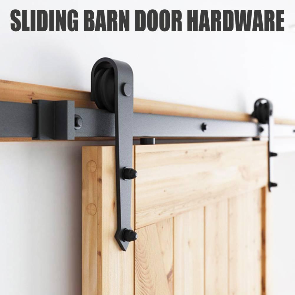 2PCS Sliding Barn Wood Door Hardware Carbon Steel Slide Closet Rail Track Set