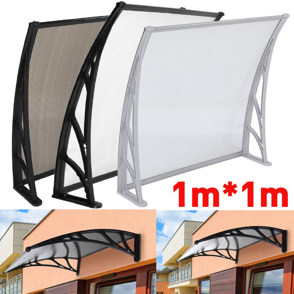 more photos a4cac e0cf2 Details about White/Black Door Canopy Awning Shelter Front Back Porch  Outdoor Shade Patio Roof