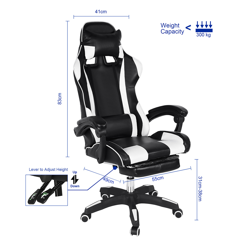 Chefsessel Gaming Stuhl Bürostuhl Schreibtischstuhl Drehstuhl mit Fußstütze Sitz