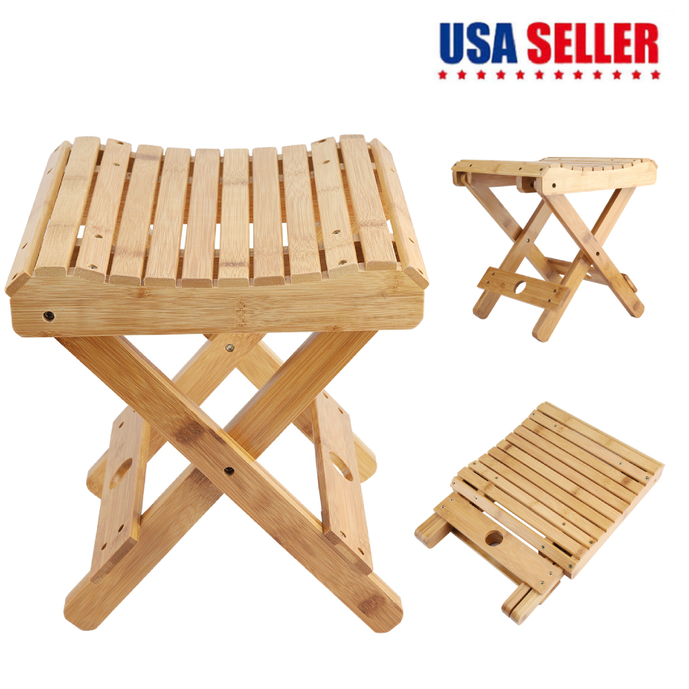 Fabulous Details About 12 Bamboo Folding Stool Portable Home Solid Wood Outdoor Fishing Chair Stool Us Spiritservingveterans Wood Chair Design Ideas Spiritservingveteransorg