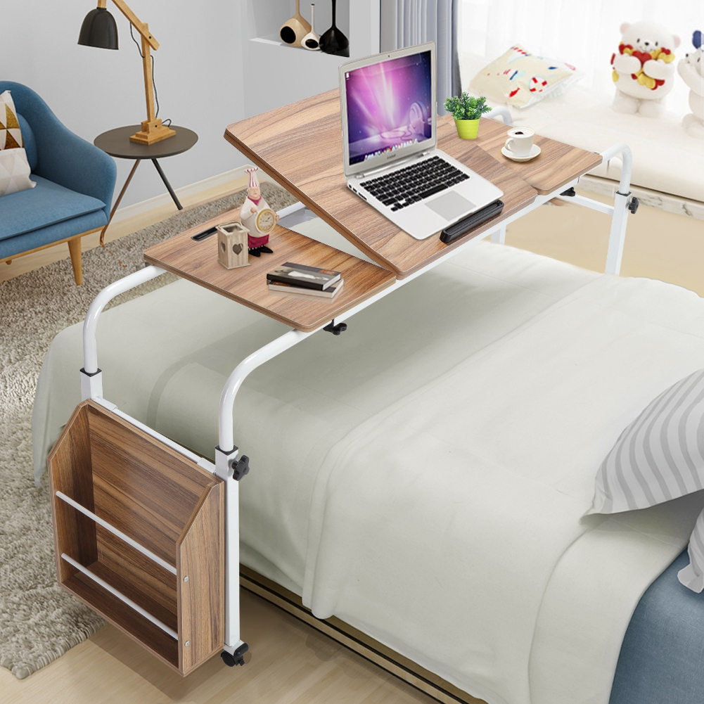 Adjustable Overbed Computer Desk PC Laptop Study Table Workstation /& Storage Box