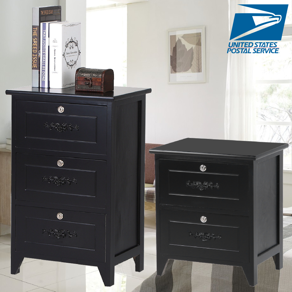 3 Lockable Drawers Furniture Bedside Cabinet Stand Bedroom Table Night Stand 2