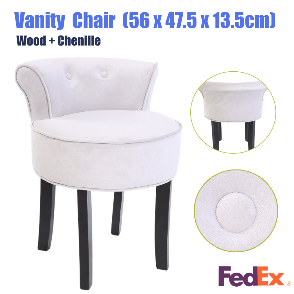 Ordinaire Details About Modern Wood Grey Soft Seat Bedroom Dressing Chair Chenille  Makeup Vanity Stool