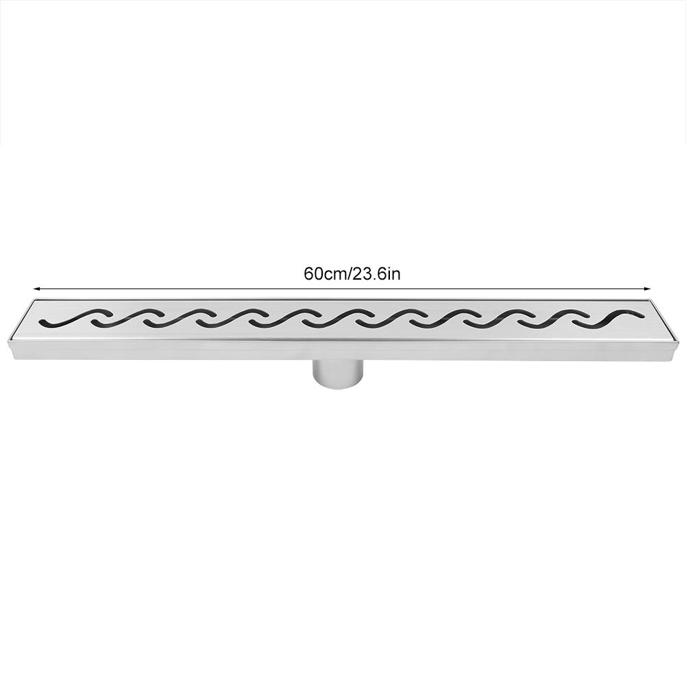 60/80cm Bathroom Stainless Steel Wavy Line Floor Drain Waste Gate ...