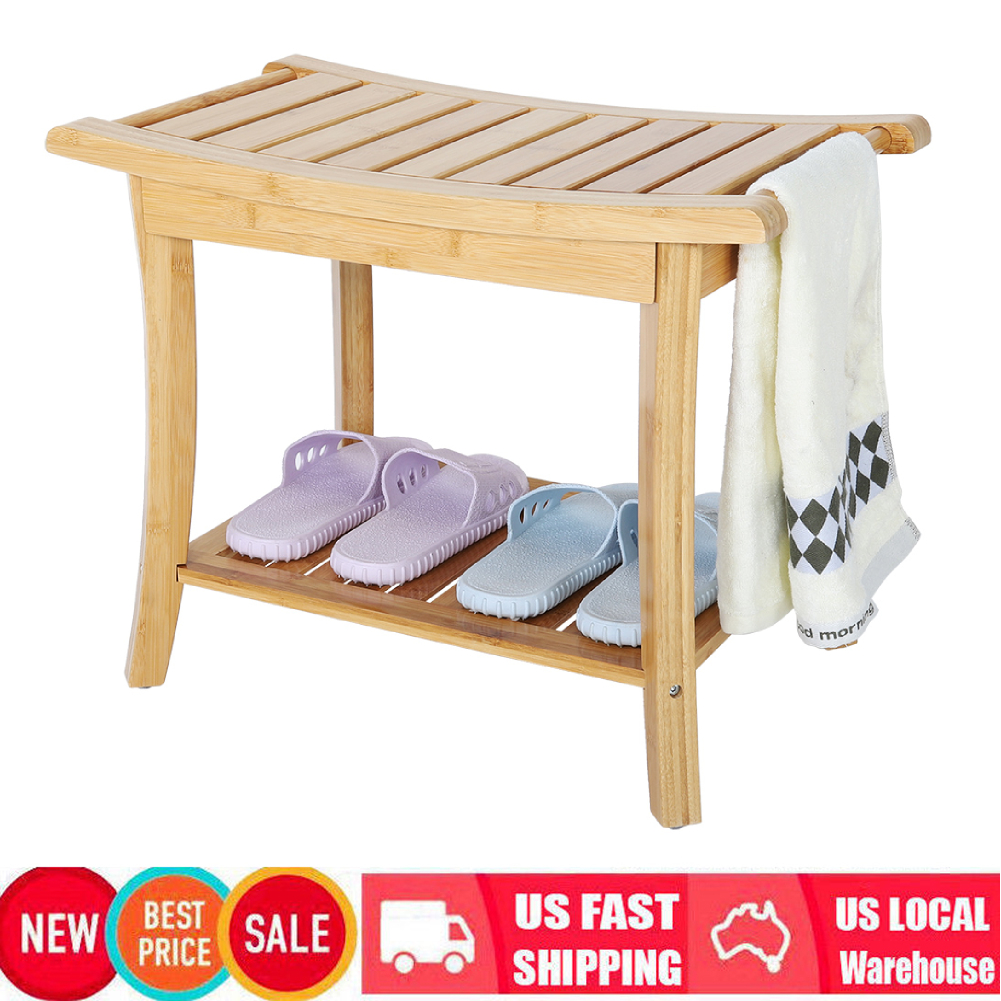 Details About 24 Bamboo Shower Bench Seat Bathing Stool Spa Chair Bathroom Towel Shelf 2 Tier
