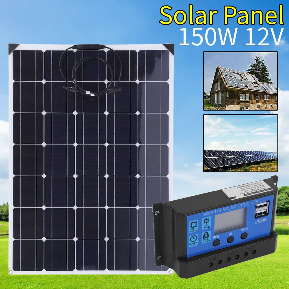 Details about 150W 12V Semi Flexible Solar Panel Kit Battery Charger w/  Controller Car RV Boat