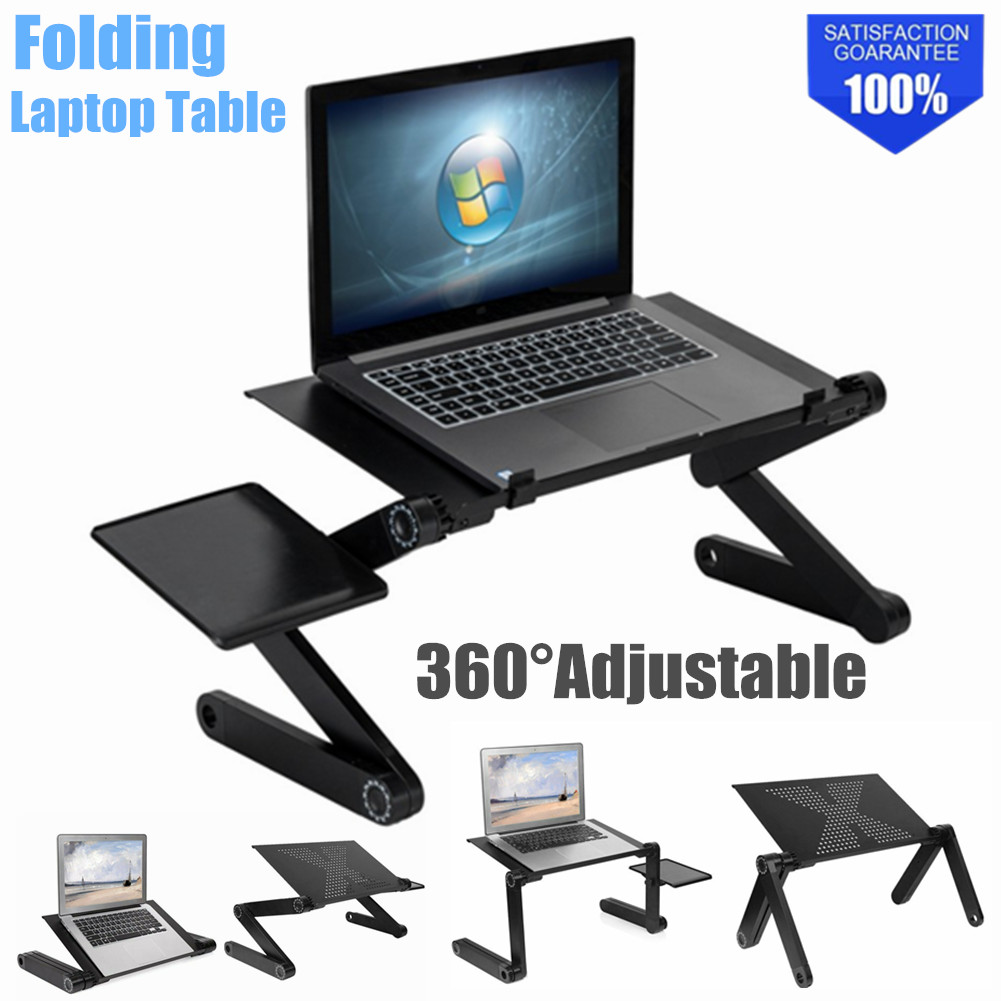 Black Adjustable Folding Laptop Table Lap Desk Bed Computer Tray Stand 2 Colors