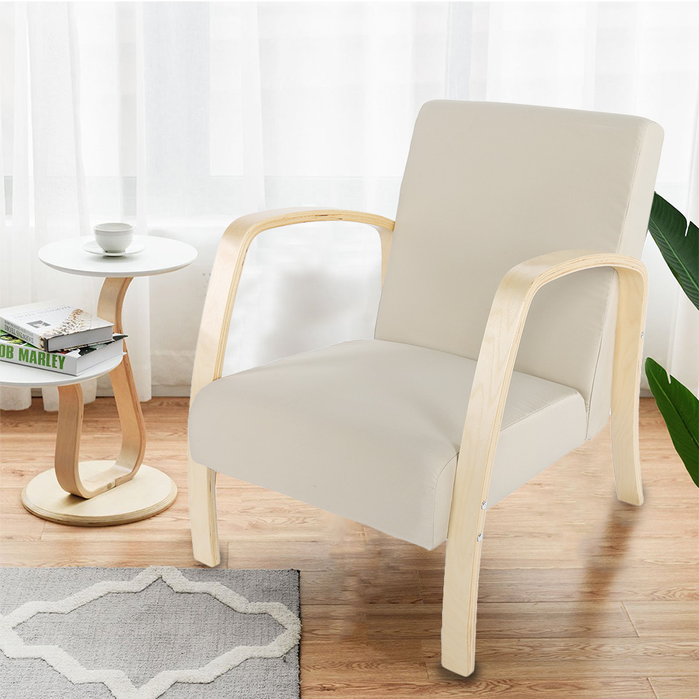 Swell Details About Wood Retro Single Linen Armchair Seat Chair Accent Recliner Sofa Wood Club Home Cjindustries Chair Design For Home Cjindustriesco