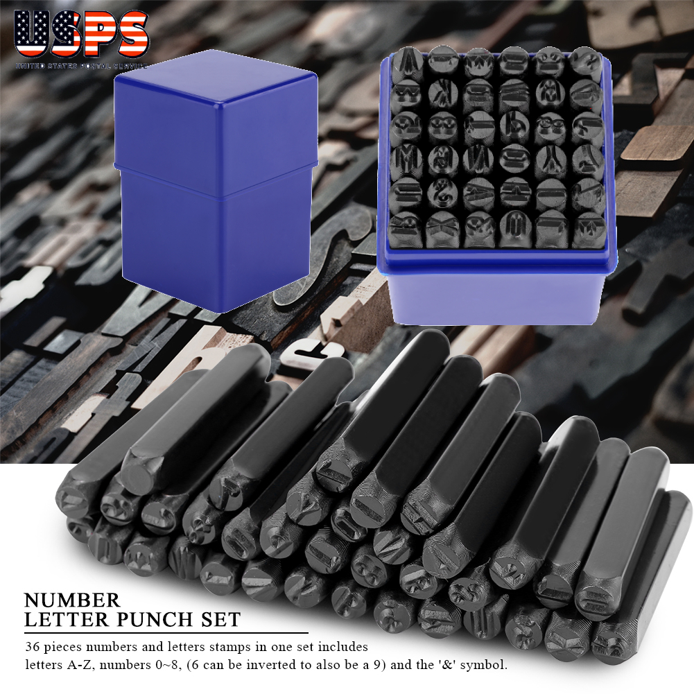 36pc Number /& Letter Punch Set 5mm Box Stamp Metal Steel Tool Stamping Wood
