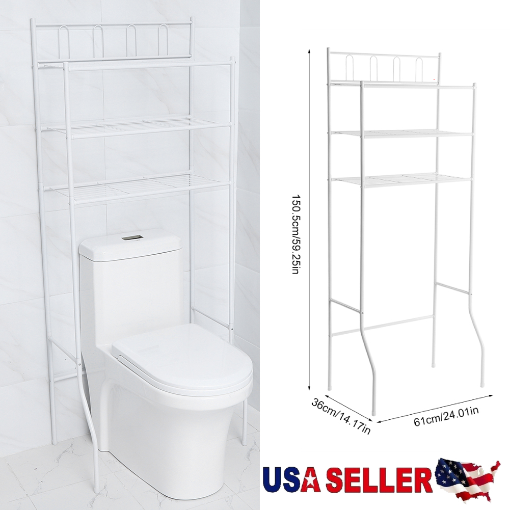 Over The Toilet Bathroom Organizer Iron Towel Storage Rack 3 Shelf Space Saver W